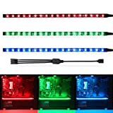 WOWLED RGB Gaming LED Strip Lights for Mid Tower PC Case Lighting, Gamer DIYs for Aura Sync and M/B with 4pin RGB Header 30cm 5050 SMD with Magnet (Pack of 3 Strips) (Color: RGB Set of 3 Strips, Tamaño: Pack of 3 strips)