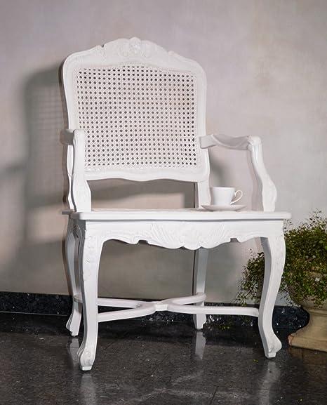 Poltrona sedia morbida in legno di mogano lounge Hall elegante bianco antico