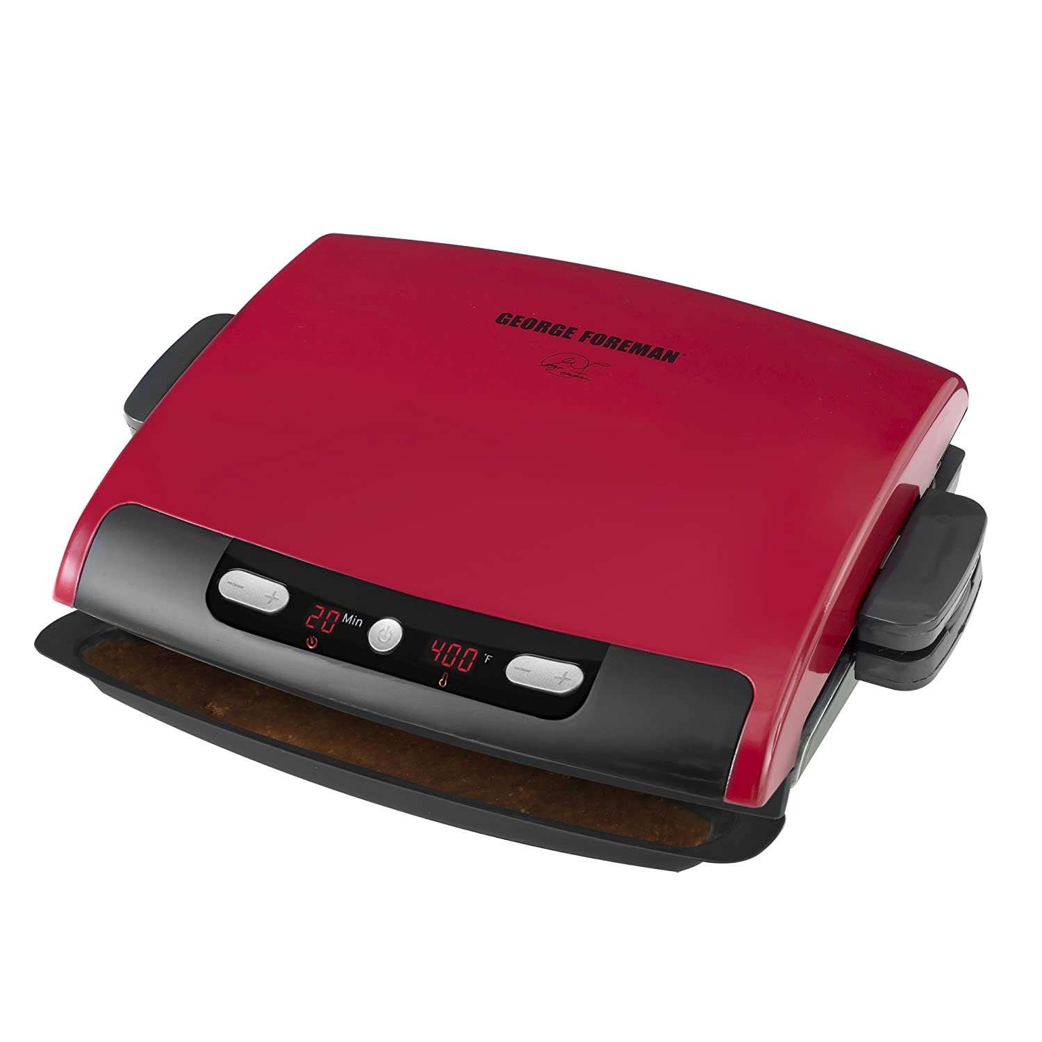 George foreman 6 serving removable plate grill red new free shipping ebay - Grill with removable plates ...