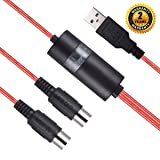 USB MIDI Cable Interface, OIBTECH Upgrade Professional MIDI to USB IN-OUT Cable Converter For PC/Mac/Laptop 2M(6.5FT) (RED) (Color: midi cable red)