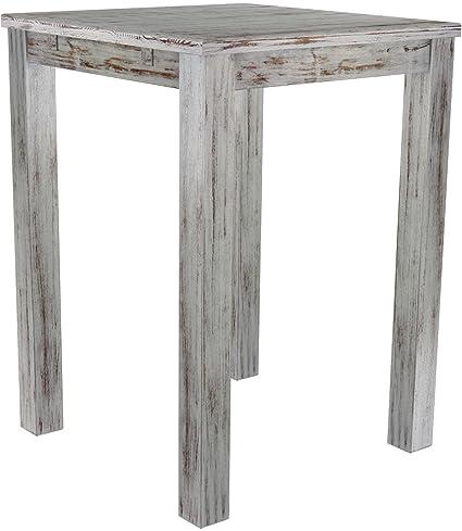 Brasil High Table 'Rio' 80x 80cm Solid Pine Wood-Shabby Chic Oak