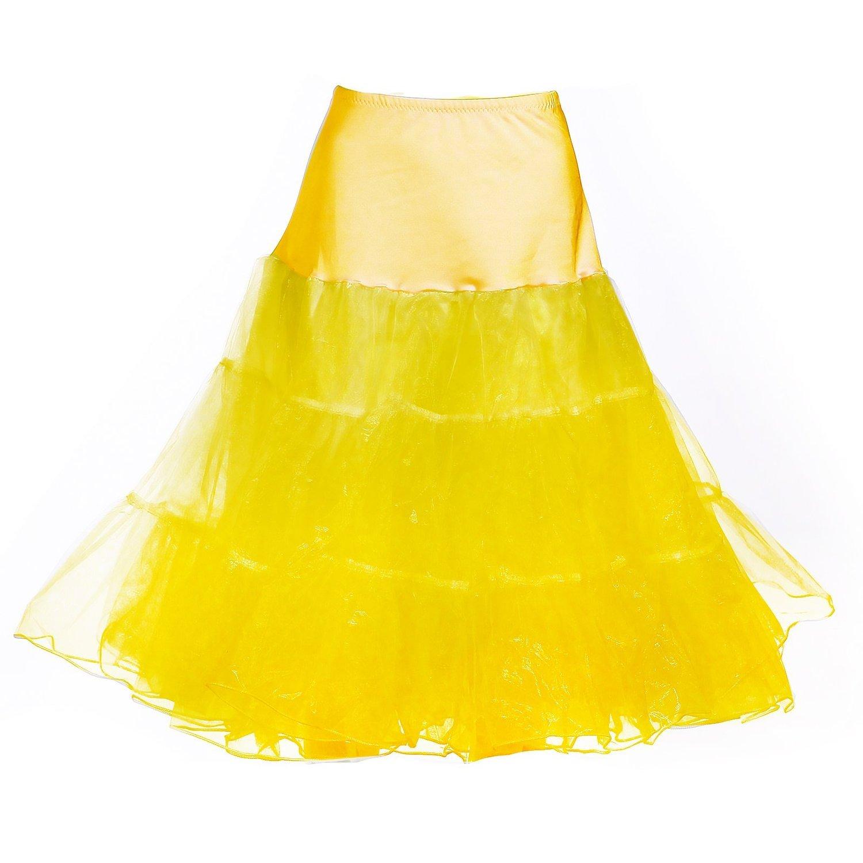 Dance Fairy Reifrock Unterrock Petticoat Knielang für Kleid Ballkleid Abendkleid Brautkleid dehnbare Bund gelb S-M
