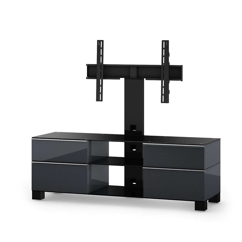 Sonorous MD 8240-B-HBLK-GRP Fernseher-Möbel mit Schwarzglas (Aluminium Hochglanz, Korpus Hochglanzdekor) graphit/schwarz
