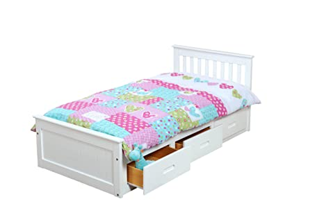 3'0 MISSION STORAGE BED IN WHITE WITH MEMORY FOAM 5000 MATTRESS