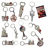 New York NYC Bundle Souvenir Metal Keychain 12 Pack~Statue Of Liberty,Usa Flag,World Trade Center,Empire State Building,Bottle Opener too & More-Bonus a Race Day Car (Color: Silver)