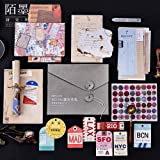 55PCS Retro Decorative Stickers Cards Envelopes Postcard Pack, Doraking DIY Vintage Decoration Stickers Decal Card for Gift Wrapping, Scrapbooking, Decoration, Wall (Vintage Letter, 55PCS/Pack) (Color: Vintage Letter)