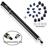 Bargains Depot 2-in-1 Stylus Touch Screen Pen for iPhone, Ipad, iPod, Tablet, Galaxy and More with 20Pcs Rubber Tips-Black (Color: Black/20pcs Rubber Tips)