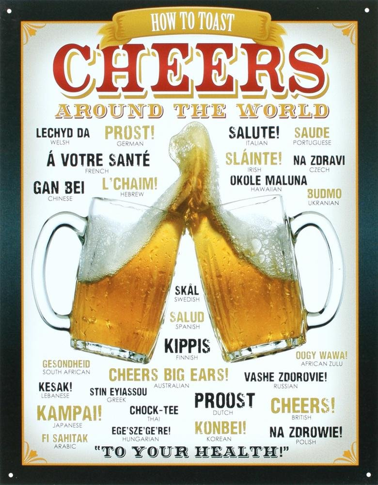 Cheers Around The World Beer Tin Sign 13 x 16in 0