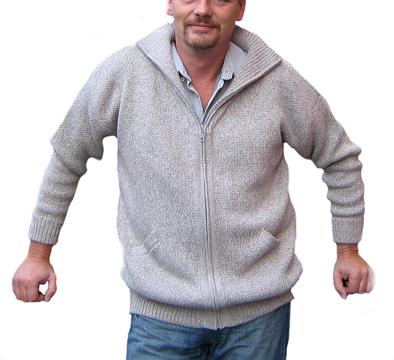 Alpacaandmore Herren Strickjacke Alpakawolle Rollkragen Grau Doppelt Gestrickt jetzt kaufen
