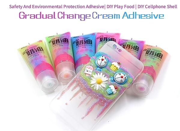mofa Jelly Butter Cream 50g 6PCS Gradual Change Cream Adhesive,Faux Simulation Fake Whipped Cream Glues Set,Crystal Cream Adhesive with 14 Nozzle