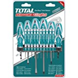 Total Tools 18-piece Magnetic Screwdriver Set Commercial Grade Phillips & Slotted Comfort Grip Screw Drivers, 10 Pcs precision screwdriver, 8 Pcs screwdriver, Hanging rack included