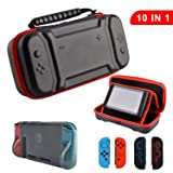 Accessories Kit for Nintendo Switch,Original Charge-Inside Travel Case TPU Cover Silicone Joy Con Gel Guards and Thumb Grip Caps Accessories for Nintendo Switch (10 in 1) (Color: Black, Tamaño: For Nintendo Switch)
