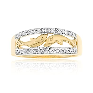 Ornami Glamour 9ct Yellow Gold Diamond Set Dolphin Band Dress Ring