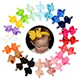 WillingTee 4.5 inches Grosgrain Ribbon Hair Bows Headbands for Baby Girls Infants and Toddlers 20 pieces (Color: Multicoloured, Tamaño: 0-6 years)