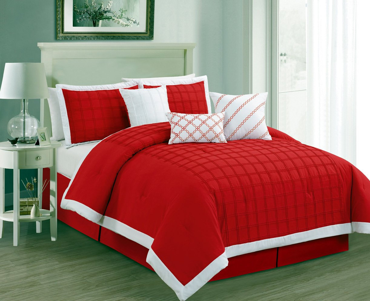 """""""7 Pieces Luxury Red and White Pleated Window Pane Comforter Set / Bed-in-a-bag King Size Bedding"""""""