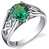 Simulated Emerald Cathedral Ring Sterling Silver Size 5