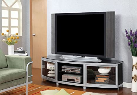 Sylva collection contemporary style silver metal finish and black tempered glass shelves TV entertainment center stand