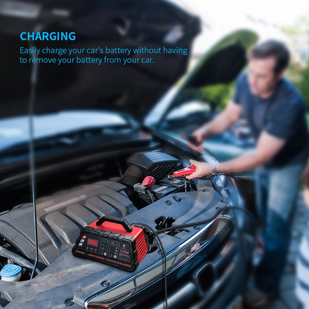 Potek 2/10/20 Amp Smart Battery Charger and Maintainer with 50-Amp Battery Clips