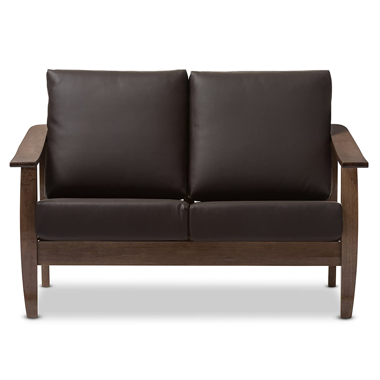 Baxton Studio Philbert Mid Century Modern Walnut Wood and Dark Brown Faux Leather 2 Seater Loveseat Sofa 1