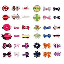 Bundle Monster 18pc Girl Baby Toddler Ribbon Bows Flowers Mixed Design Hair Clip and Barrettes
