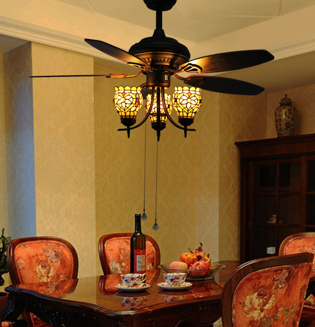 Makenier Vintage Tiffany Style Stained Glass 3-light Flowers Uplight 5-blade Ceiling Fan Light Kit 1
