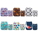 ALVABABY Cloth Diaper, One Size Adjustable Washable Reusable for Baby Girls and Boys 6 Pack with 12 Inserts (Girl Color 6DM40, All in one) (Color: girl color 6DM40, Tamaño: All in one)