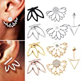 10 pairs ear jacket stud lotus flower earrings for women and girls set for sansitive ears simple chic jewelry (Color: Multicolor)