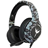 RAIKKEN Stereo Gaming Headset Xbox One, PS4, PC Compatible with Mic, Noise Cancelling Camo Headphones with LED Lights, High Performance Retractable Microphone for Chat, Supports Nintendo Switch & Mac (Color: Grey)