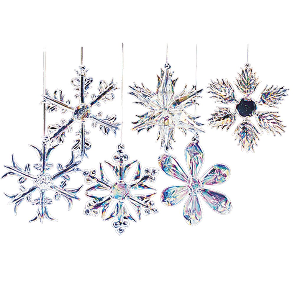 Christmas snowflake ornaments - 2 Glass Iridescent Snowflake Ornaments 12 Piece Set 12 Piece 2 Glass Iridescent Snowflake Glass Ornament Set Is A Beautiful Classic Way To Add To The