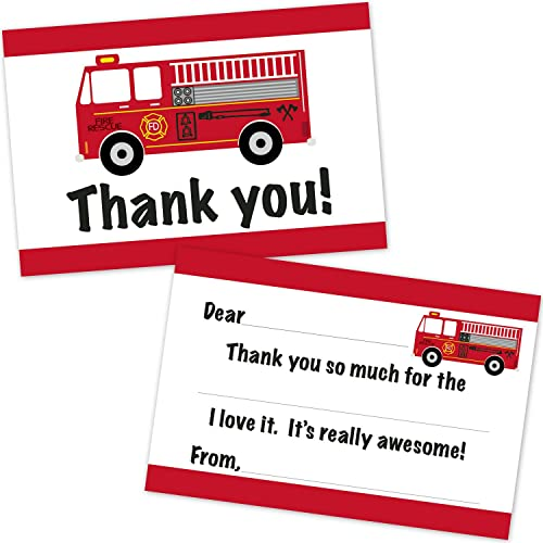 Fire Truck Birthday Fill In Thank You Notes (10 Count with Envelopes)