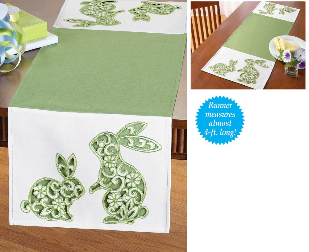 Easter bunny table runners easter wikii embroidered easter bunnies open scroll floral design green white table runner embroidered easter bunnies open scroll floral design green white table runner negle Image collections