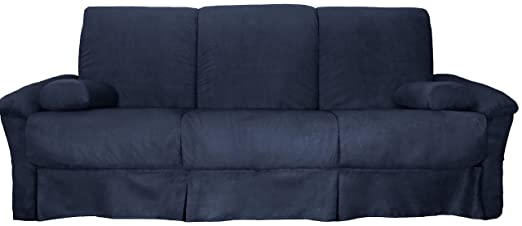 Epic Furnishings Tango Perfect Sit and Sleep Queen-Size Microfiber Sleeper Sofa Bed with Pillow Top Arms, Suede Dark Blue