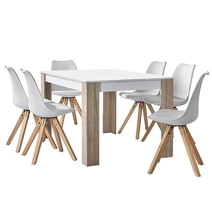 [en.casa] Esstisch Eiche weiß mit 6 Stuhlen weiß 140x90cm Esszimmer Essgruppe Kuche Set