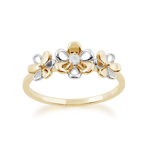 Gemondo Diamond Ring, 9ct Yellow Gold 0.03ct Diamond Three Flower Ring