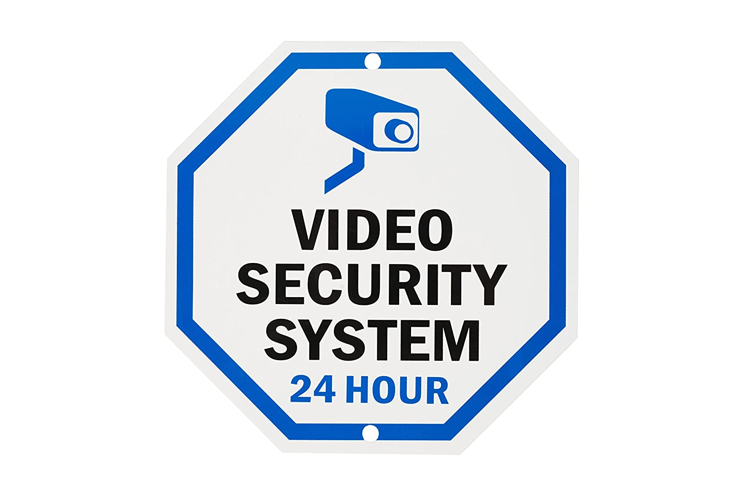 "WALI Aluminum Sign for Home Business Security, Legend ""Video Security System 24 Hour"",10"" Tall Octagon, UV Protected & Waterproof, Black/Blue on White"