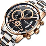 NIBOSI Men's Watches Sports Army Chronograph Waterproof Military Quartz Wristwatches Luxury Watches Rose Gold Black Color (Color: 2309-2-GD, Tamaño: M)