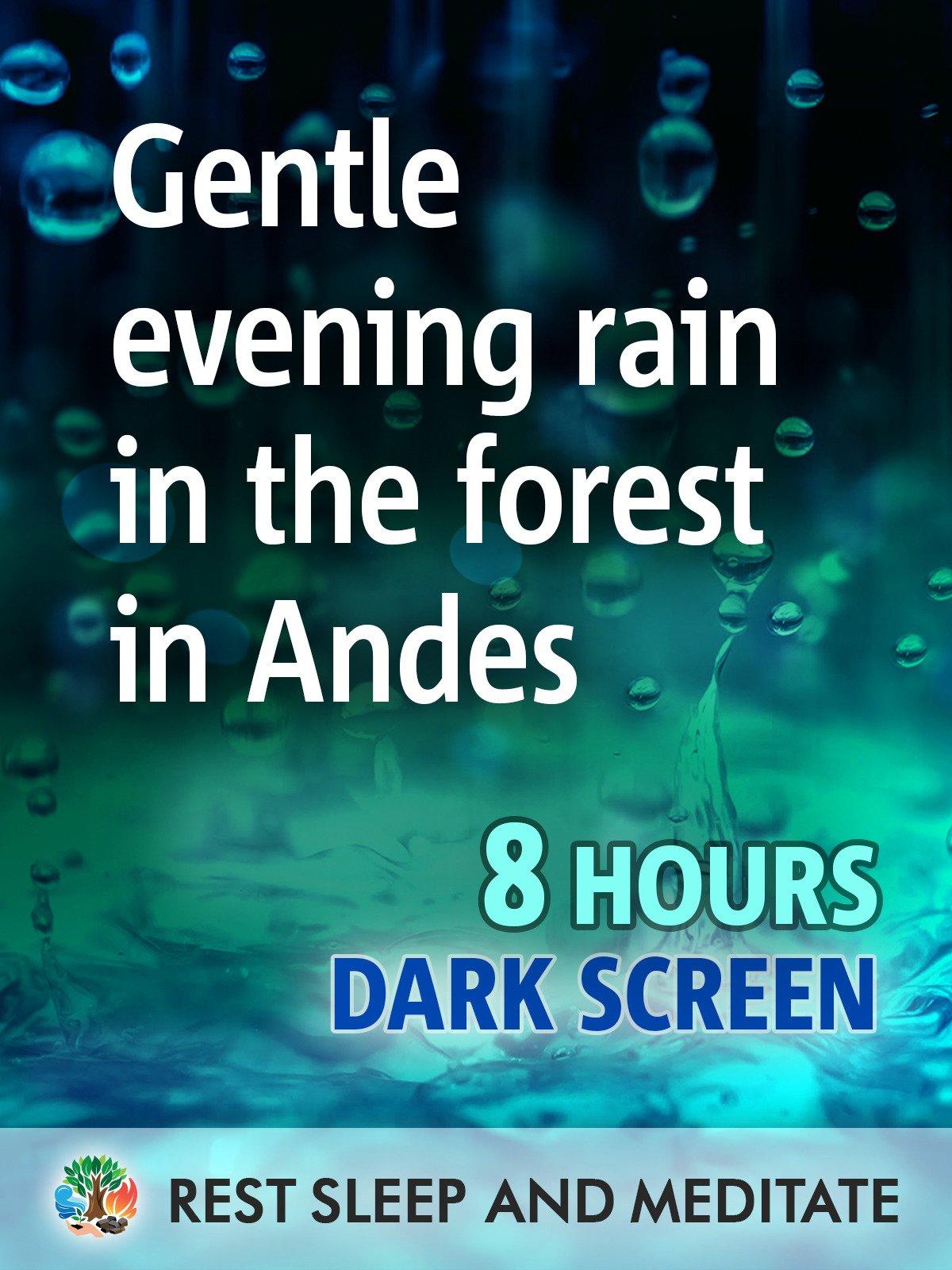 Gentle evening rain in tropical forest, 8 hours, dark screen