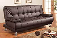 Coaster Futon Sofa Bed in Brown Vinyl