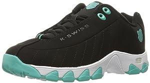 K-Swiss Women's ST329 CMF Cross-Trainer Shoe, Black/Turquoise, 10 M US