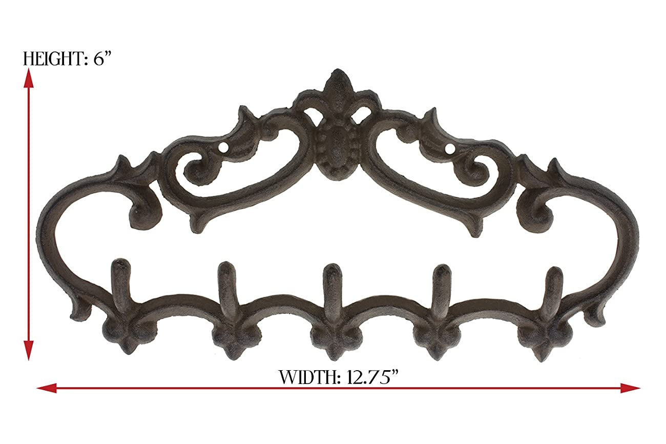 Cast Iron Wall Hanger - Vintage Design with 5 Hooks - Keys, Towels, Clothes, Anprons - Wall Mounted, Metal, Heavy Duty, Rustic, Vintage, Recycled, Decorative Gift Idea - 12.9x 6.1