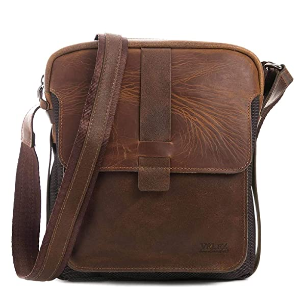 Mariconera para Hombres de Cuero Bicolor VELEZ Leather Crossbody Bags for Men