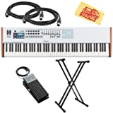 Arturia KeyLab 88 Keyboard Controller Bundle with Adjustable Stand, Expression Pedal, MIDI Cable, and Austin Bazaar Polishing Cloth