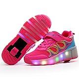 LED Flashing Single Wheel skating shoes Girl's Roller Flashing Shoes (Pink-13 M US Little Kid) (Color: Pink, Tamaño: 13 M US Little Kid)