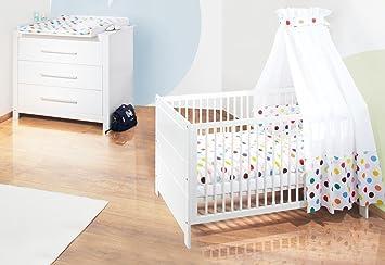 Pinolino Sparset Puro breit, 2-teilig, Kinderbett (140 x 70 cm) und breite Wickelkommode mit Wickelansatz, Fichte massiv, weiß lasiert (Art.-Nr. 09 16 48 B)