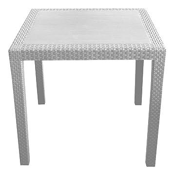 robuster gartentisch rattan optik kunststoff campingtisch beistelltisch rattantisch wei. Black Bedroom Furniture Sets. Home Design Ideas