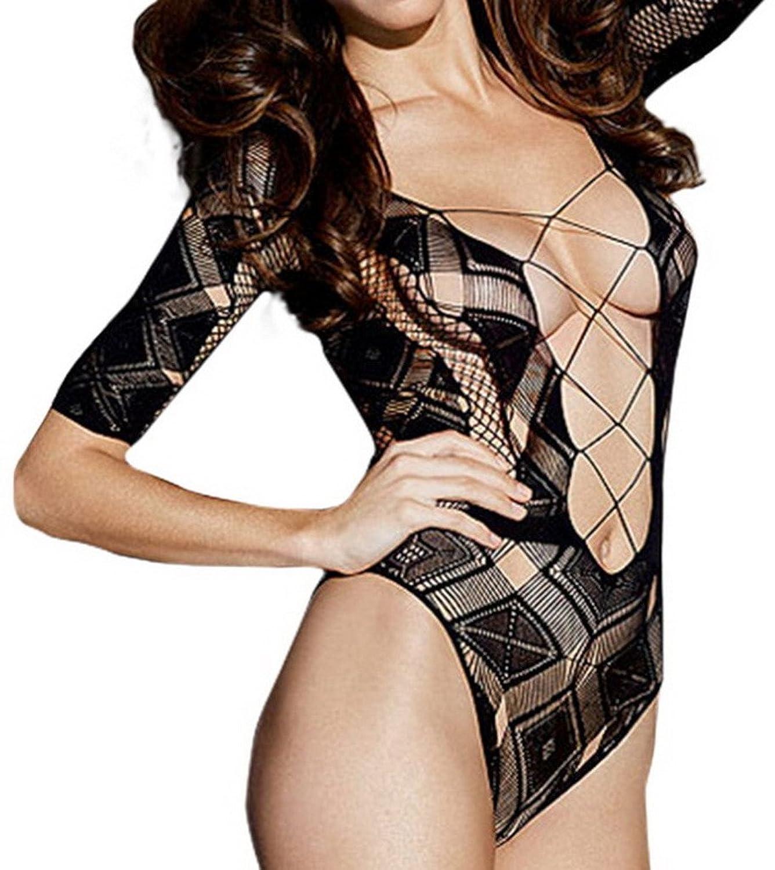 Bigood Einheit Lace kariert Muster Damen Dessous Set Sexy Lingerie One-Size Schwarz kaufen