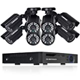 DEFEWAY 8ch Video Security System with 8Channel 1080N DVR, 8 Weatherproof 720P HD Cameras, Indoor & Outdoor, 100ft Night Vision, Motion Detection, NO HDD