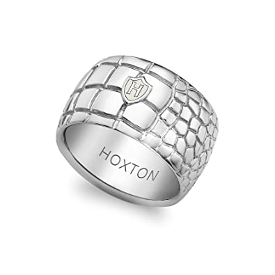 Hoxton London Men's Sterling Silver Wild Crocodile Patterned Ring