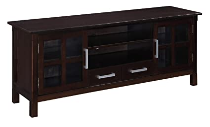 "Simpli Home Kitchener TV Stand, 60""W x 24""H, Dark Walnut Brown"