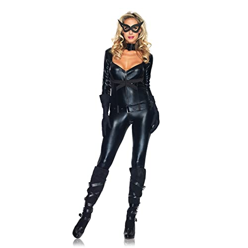 Leg Avenue 4 Piece Cat Girl Jumpsuit Belt Gloves And Eye Mask